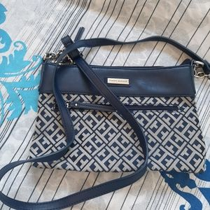 Tommy Hilfiger blue and gray small crossbody bag